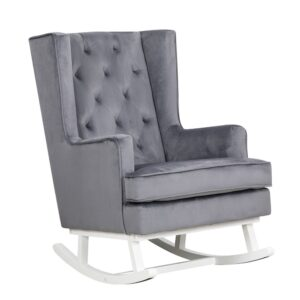 Convertible Nursing Rocking Chair Midnight Grey White Legs