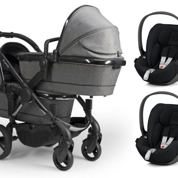 iCandy Peach Twin with Cloud Z Car Seats - Phantom / Dark Grey Twill / Deep Black