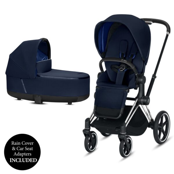 Cybex PRIAM Chrome Chassis Black Handle - Indigo Blue Includes Carrycot & Footmuff