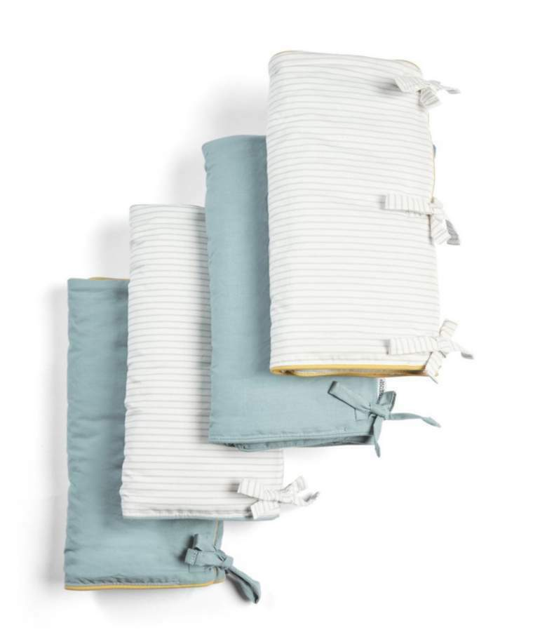 Mamas & Papas - Welcome to the World Farm Cot Bar Covers Pack of 4 Blue Stripes