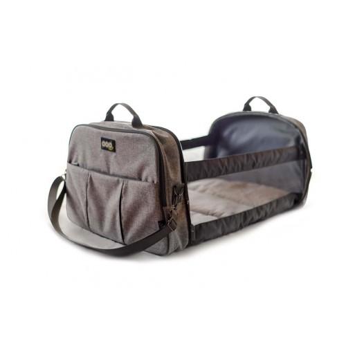 Bizzi Growin Pod Bag Grey Linen - Changing Bag and Crib