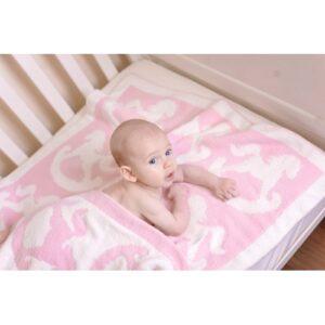 Bizzi Growin Blanket Chenille Pink Rocking Horse