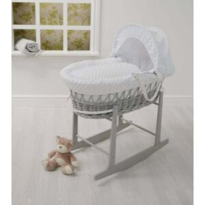 Cuddles Moses Basket White Dimple On Grey Wicker