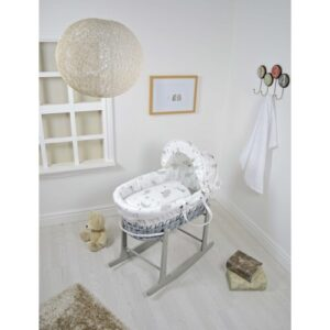 Cuddles Moses Basket Sweet Dreams All Over Grey Wicker