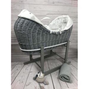 Cuddles Pod Rollover Sweet Dreams Moses Basket On Grey Wicker