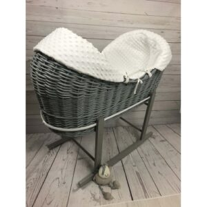 Cuddles Pod Rollover White Dimple Moses Basket On Grey Wicker