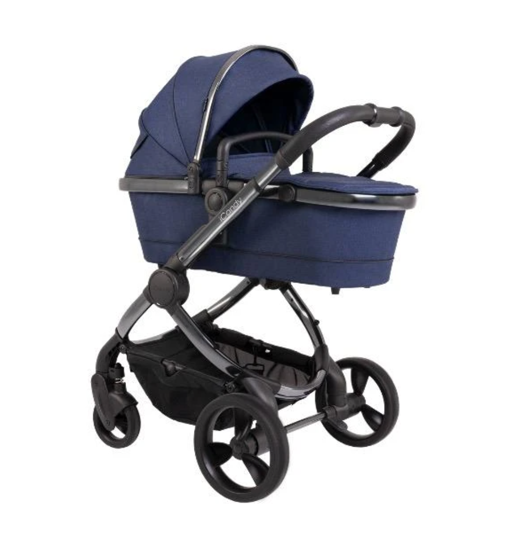 iCandy Peach Pushchair and Carrycot - Phantom / Navy Twill and Cloud Z i-Size Travel System