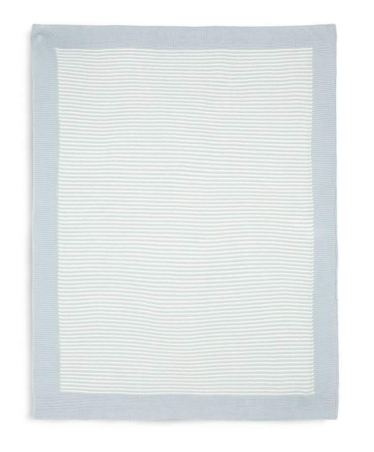 Mamas & Papas - Knitted Blanket - Blue & White Stripe