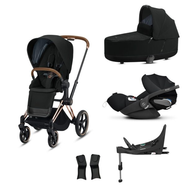CYBEX Priam Pushchair - 2020 - Deep Black Rose Gold Chassis - INLCUDES CAR SEAT & BASE