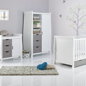 Obaby Stamford Classic 3 Piece Furniture Set - White With Taupe Grey