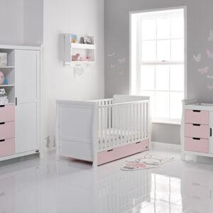 Obaby Stamford Classic 3 Piece Furniture Set - White with Eton Mess