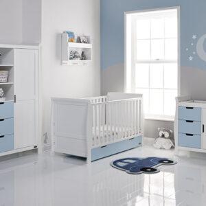 Obaby Stamford Classic 3 Piece Furniture Set - White with Bonbon Blue