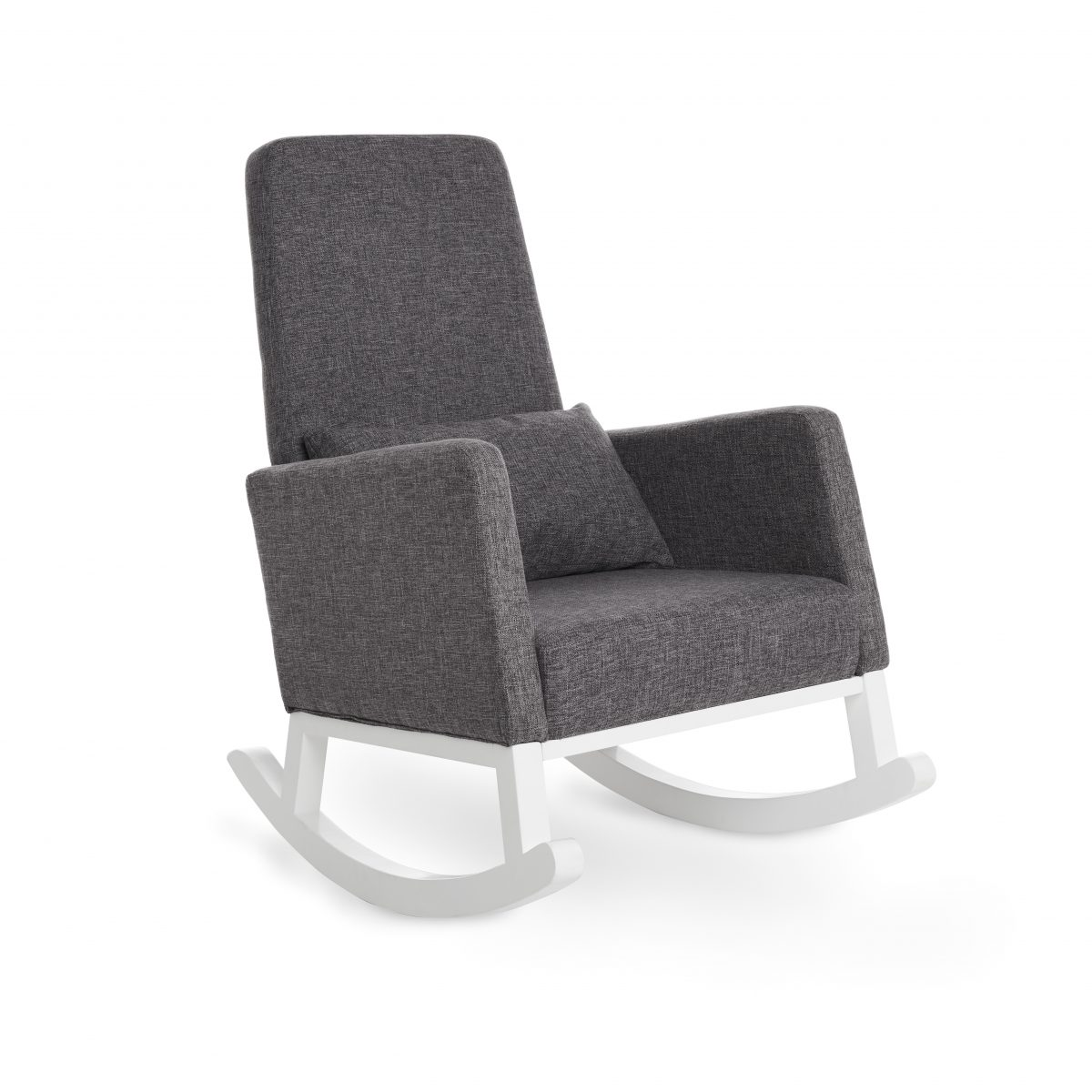 Obaby High Back Rocking Chair – White with Grey Cushion