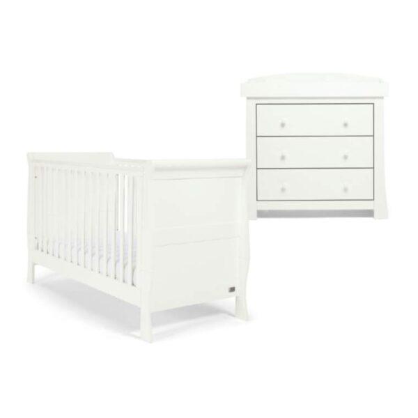 Mamas & Papas Mia 2 Piece Sleigh Cotbed Furniture Set – White