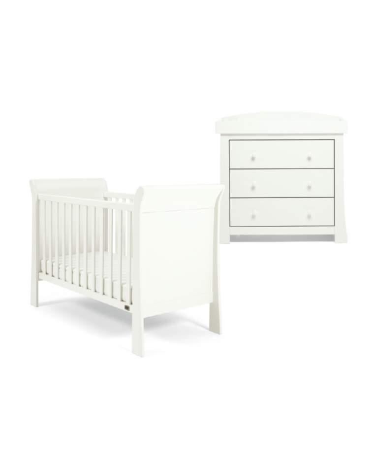Mamas & Papas Mia Sleigh 2 Piece COT Set with Dresser – White