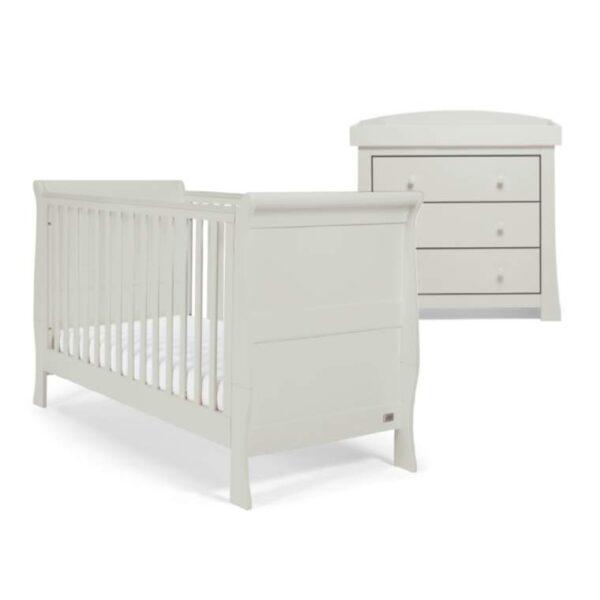 Mamas & Papas Mia 2 Piece Sleigh Cotbed Furniture Set - Cool Grey