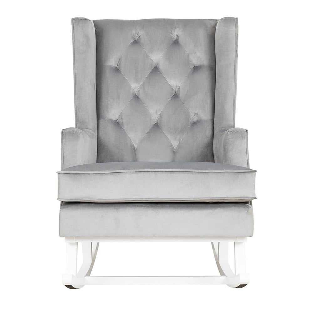 Convertible Nursing Rocking Chair Quiet Grey White Legs