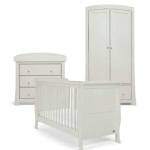 Mamas & Papas Mia 3 Piece Sleigh Cotbed Furniture Set - Cool Grey - FREE SPRUNG MATTRESS