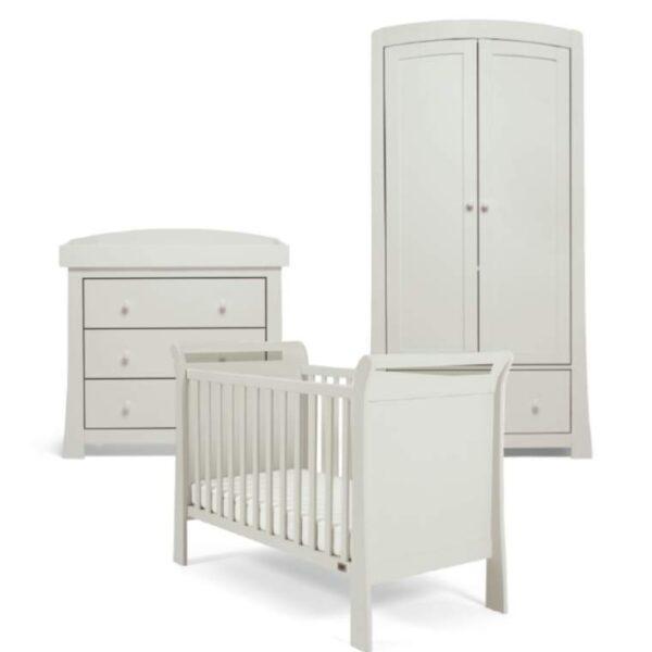 Mamas & Papas Mia Sleigh 3 Piece Nursery Set with COT, Dresser & Wardrobe Cool Grey