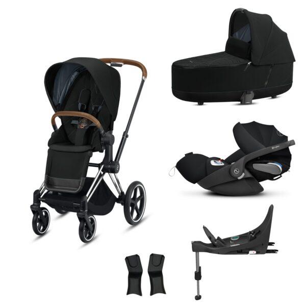 CYBEX PRIAM BUNDLE BROWN HANDLE/CHROME - DEEP BLACK INCLUDING CAR SEAT AND BASE