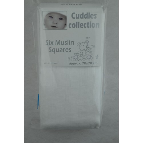 CUDDLES MUSLIN SQUARES X 6 WHITE