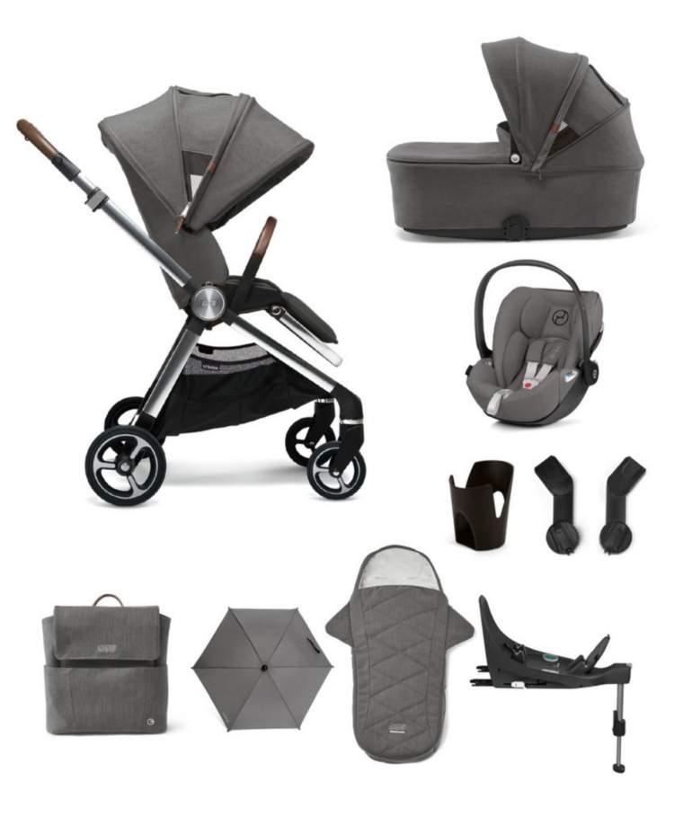 Mamas & Papas Strada 9 Piece Complete Bundle with Cloud Z Car Seat - Grey Mist
