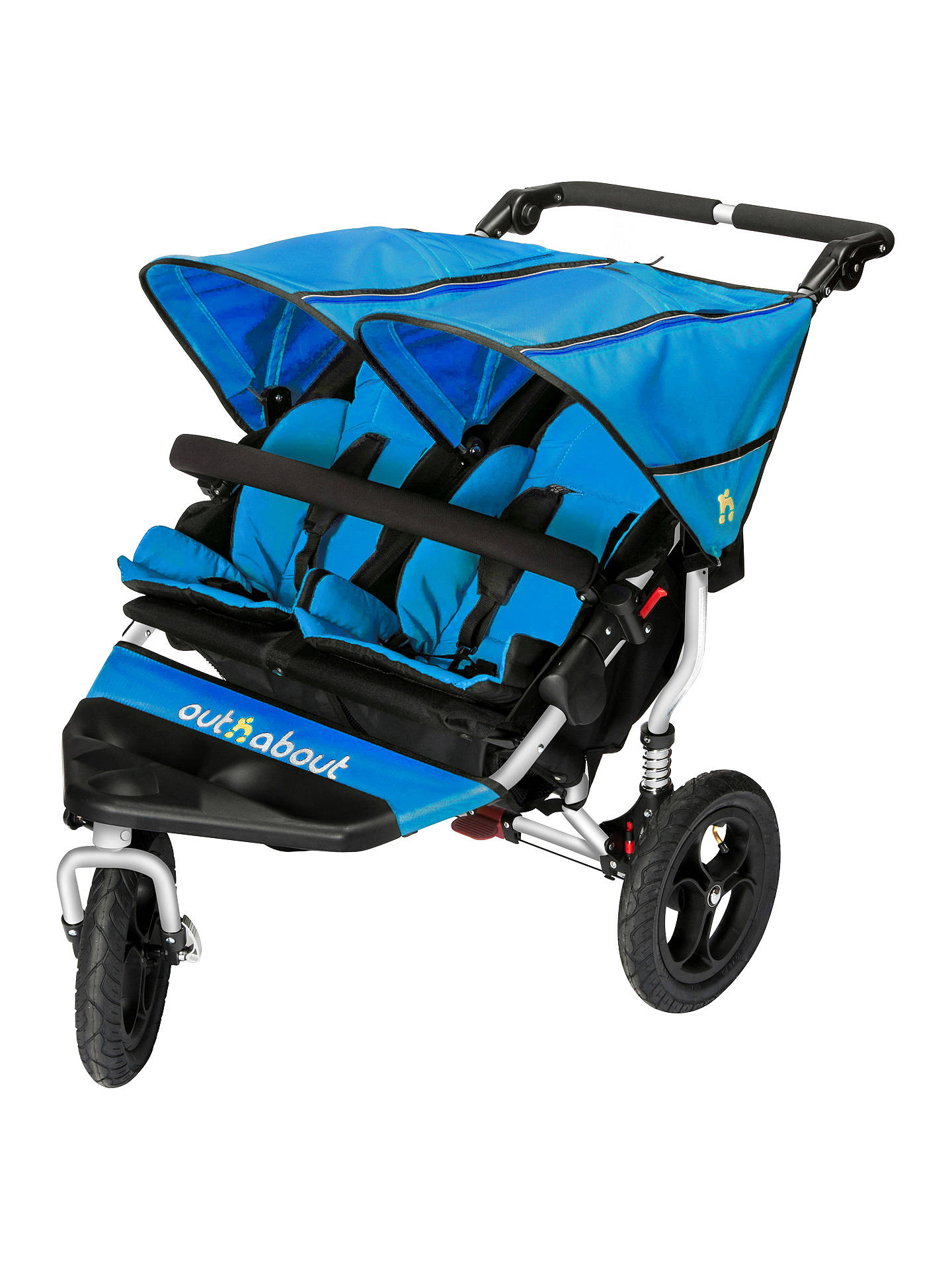 OUT N ABOUT DOUBLE NIPPER V4 – LAGOON BLUE – INCLUDES RAINCOVER & BASKET