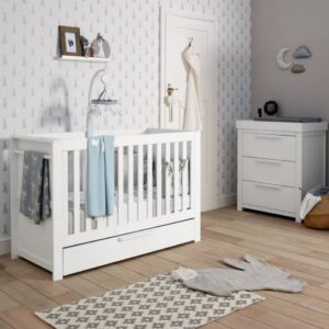 Mamas and Papas Franklin Cot Bed 2 Piece Nursery Furniture Set - White Wash - Free Mattress