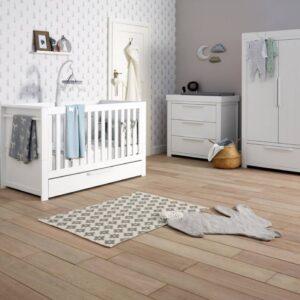 Mamas & Papas Franklin Cotbed 3 Piece Nursery Furniture Set - White Wash- Free Mattress