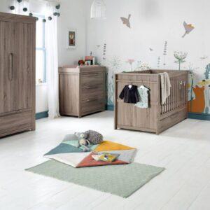 Mamas & Papas Franklin 3 Piece Furniture Set - Grey Wash - Free Sprung Mattress