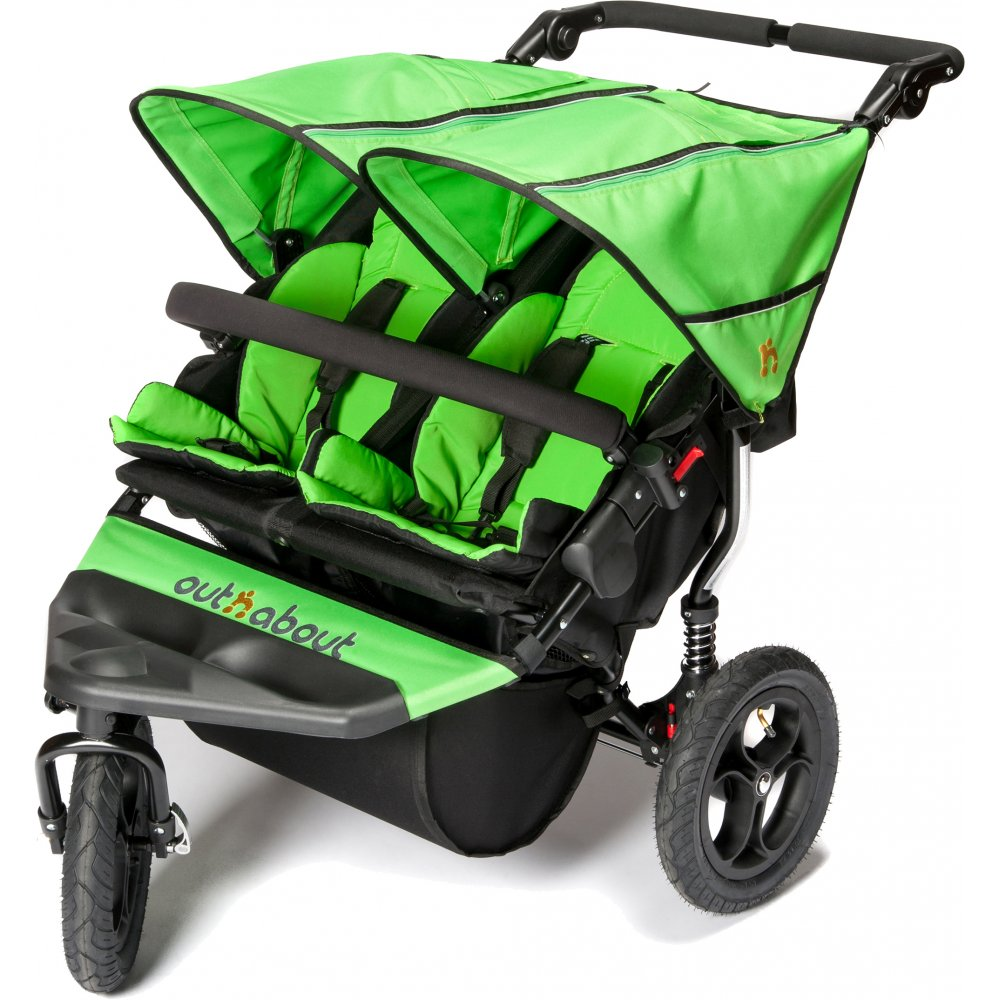 OUT N ABOUT DOUBLE NIPPER V4 – MOJITO GREEN – INCLUDES RAINCOVER & BASKET
