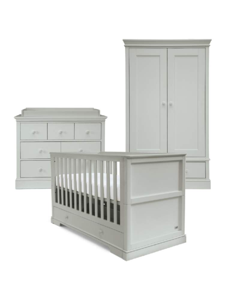 Mamas & Papas - Oxford 3 Piece Cot Bed Range with Dresser and Wardrobe - Grey