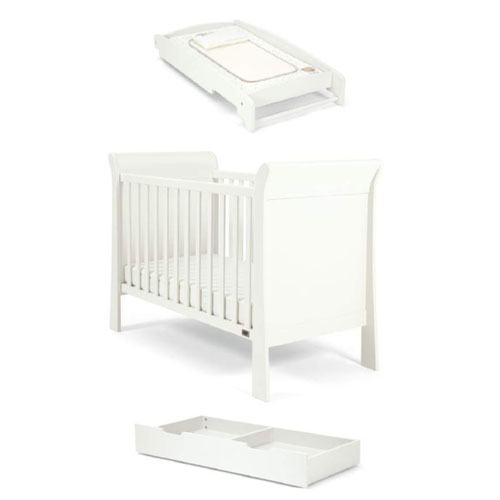Mamas & Papas Mia Sleigh Cot Bundle – White