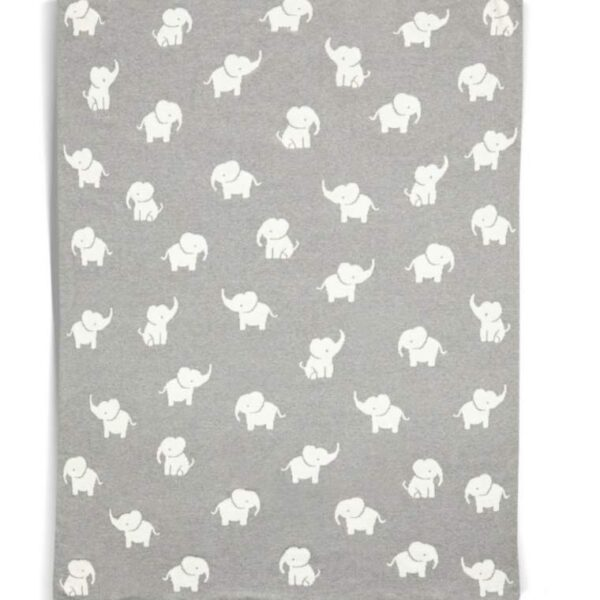 NEW Mamas & Papas Welcome To The World Elephant Grey Knitted Blanket