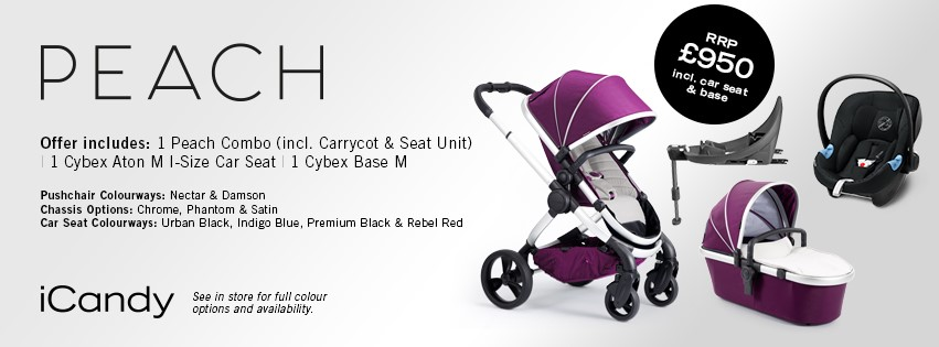 iCandy Peach Combo - Inlcuding Cybex Aton M Car Seat & Base - Different Colours Available