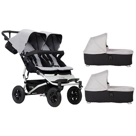Mountain Buggy Duet with 2 Carrycots and Raincover
