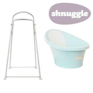Shnuggle Baby Bath with Bum Support & Bath Stand - Aqua - NEW STYLE