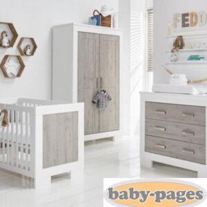 Babystyle Chicago 3 Piece Furniture Set - White & Ash - FREE MATTRESS
