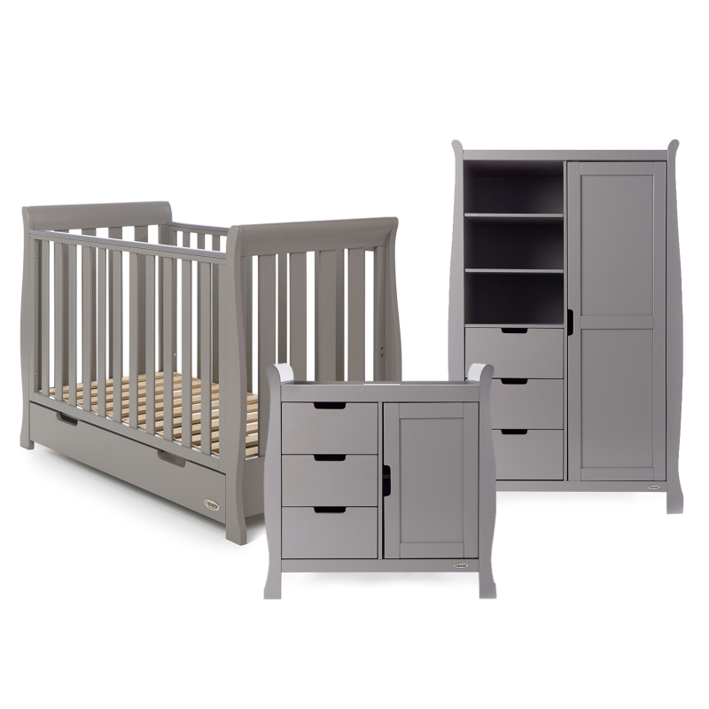 Obaby Stamford Mini Sleigh 3 Piece Room Set - Taupe Grey - EASTER OFFER