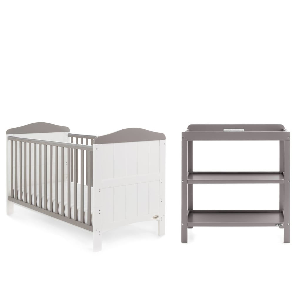 Obaby Whitby 2 Piece Nursery Furniture Room Set - White & Taupe