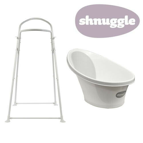 Shnuggle Baby Bath with Bum Support & Bath Stand - Grey - NEW STYLE