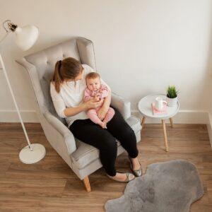 Convertible Nursing Rocking Chair Quiet Grey Natural Legs