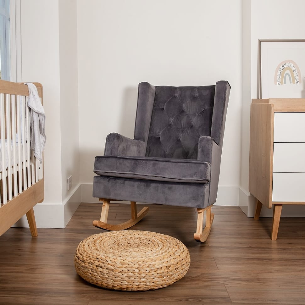 Convertible Nursing Rocking Chair Midnight Grey Natural Legs