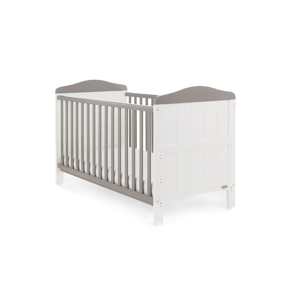 Obaby Whitby Cot Bed – White with Taupe Grey - EASTER OFFER