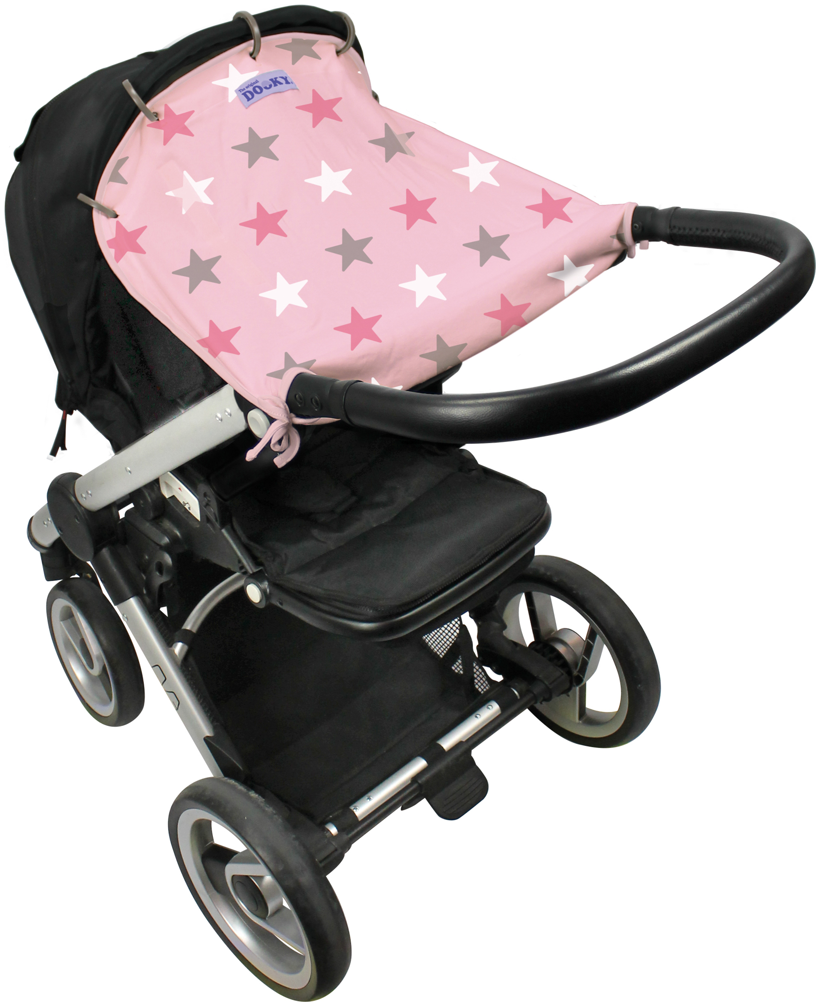 The Original Dooky Pram Sunshade UV Protector SPF50 - Pink Stars