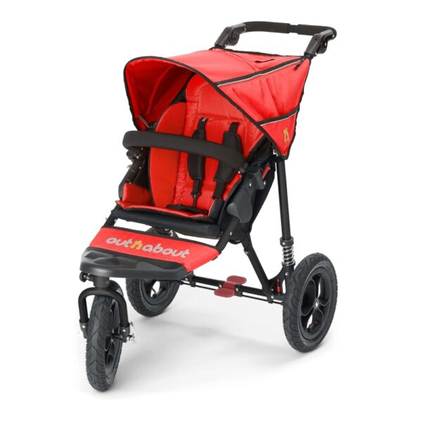 Out n About Single Nipper V4 – Carnival Red – INCLUDES RAINCOVER & BASKET