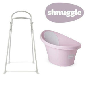 Shnuggle Baby Bath with Bum Support & Bath Stand - Rose - NEW STYLE