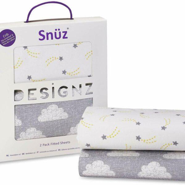 Snuz Bedside Crib Fitted Sheets, Pack of 2 - Cloud Nine