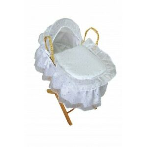 Cuddles Dolls Moses Basket & Stand White Sparkle
