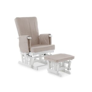 Obaby DELUXE RECLINING GLIDER CHAIR & STOOL WHITE / SAND CUSHION - EASTER OFFER